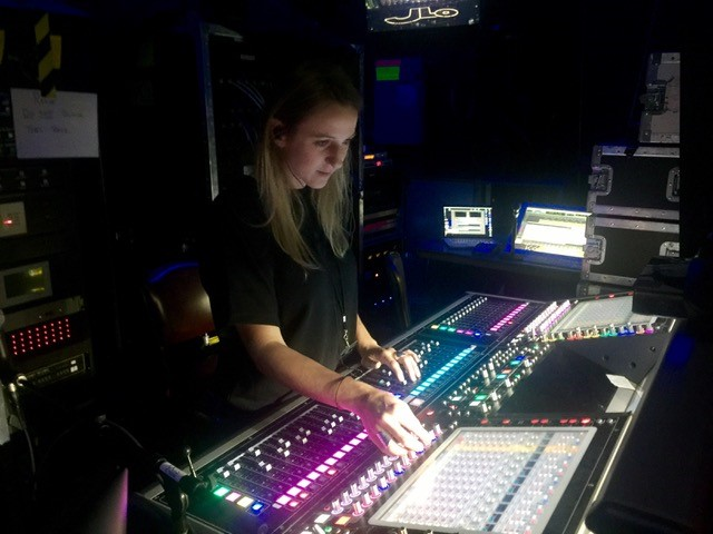 Picture of Anne-Lise Coulet at Mixing Board