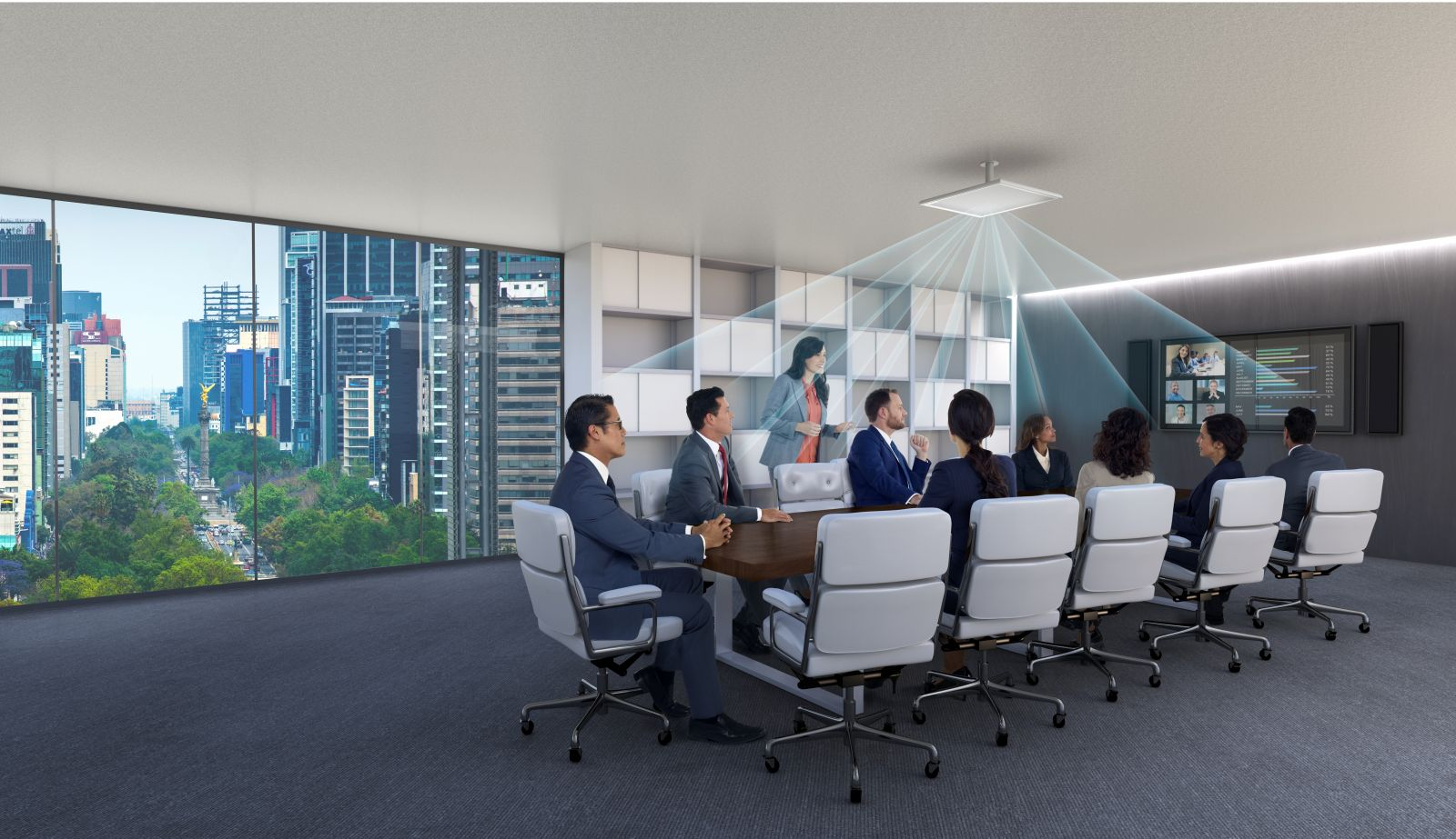 MXA910 Captures Audio in Boardroom Meeting